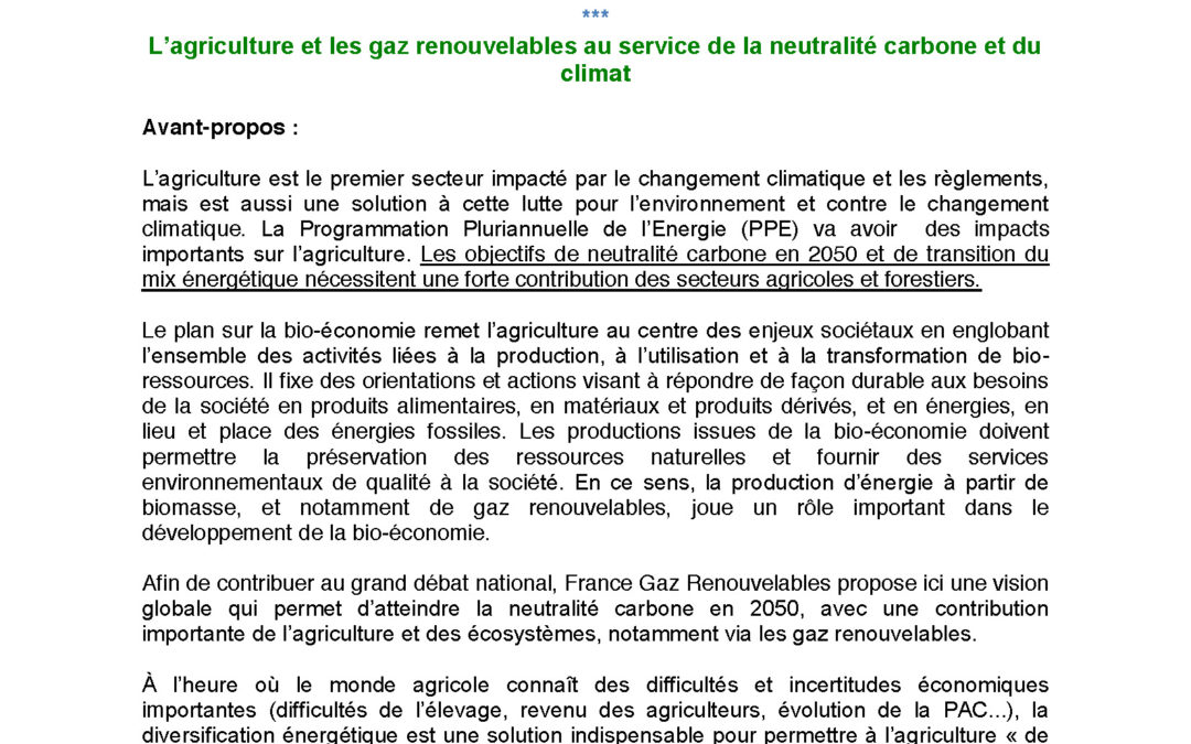 Contribution de France Gaz Renouvelables au Grand Débat National